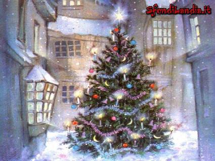 neve, cade, scende, festa, grande, vie, nel, mezzo, albero, strade, strada, via, transito, colori, luci