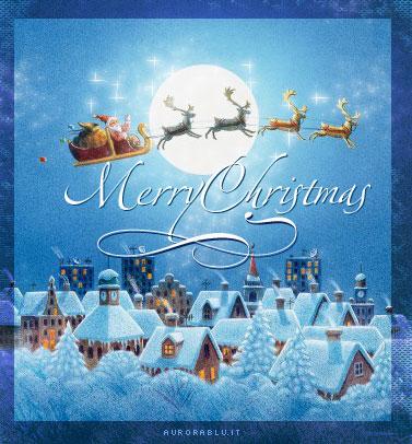 slitta, renne, trainare, doni, regali, luna, notte, cartoline natale, neve, tetti, innevati, alberi, babbo, credere, mito, leggenda, presepe