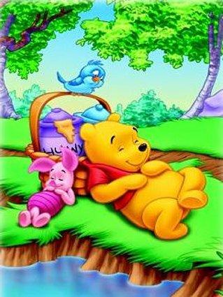 cartolina sonno, dormire, dorme, sogna, sognare, riposare, cesto, miele, vasi, uccello, uccellino, porcello, maialino, orsi, orsetto, cartolina love w