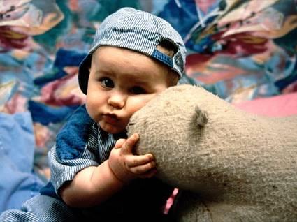 Abbraccio, bambino, pelouches, pupazzo, pezza, neonato, jeans