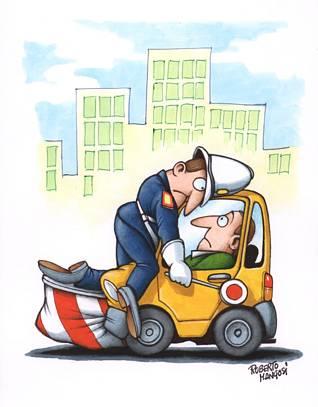 autista, podio, poggio, urto, scontro, parabrezza, errore, guidatore, paletta, rossa, alt, urbano