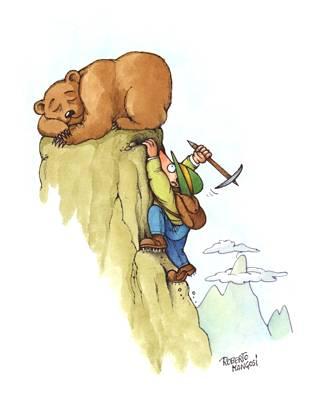 orso, piccozza, pericolo, svegliare, buco, sangue, puntare, rupe, scivolare, artigli, ferocia, alpino, cappello, cucuzzolo