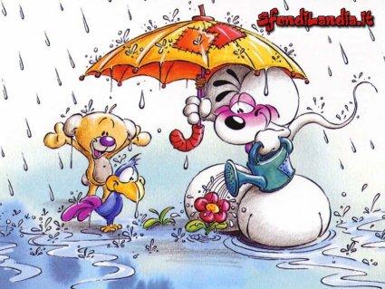 Pioggia, ombrello, fiori, annaffiare, acqua