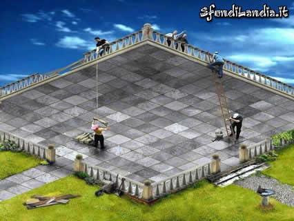 illusione, ottico, astrazione, quadro, piano, terrazzo, ringhiera, ogni, verso