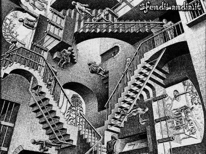 illusioni, ottiche, scale, sali, scendi, piani, discontinui