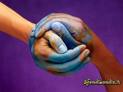 uniamo, le mani, insieme, troviamo, la, pace, per, il mondo, fratellanza, carità, eterogenee, comunità