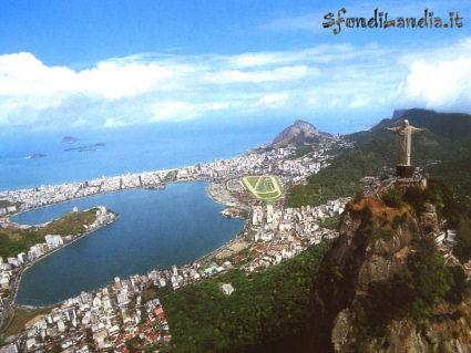 brasile, città, spiaggia, mare, palazzi, centro, traffico, vista, alto, monte, collina, rialzo, calore, brasiliano