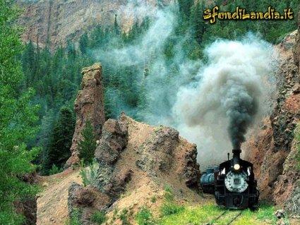 verde, vista, rilassante, treno, antico, vapore