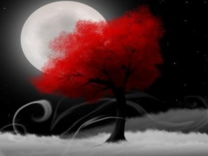 digital art, albero, rosso, luna piena, notte, arte digitale