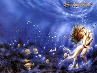 tra, pesci, sotto, acqua, sott'acqua, subacqueo, granchi