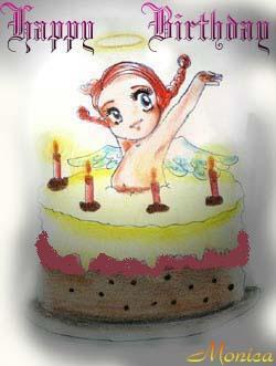 auguri, cartoline compleanno, angelo torta, regali, festa, spegnere candeline, aureola