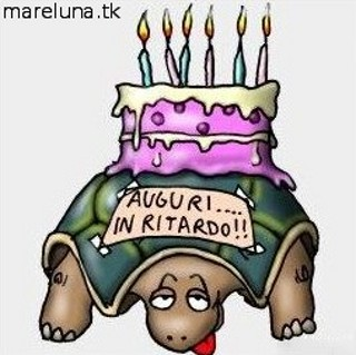 lenta, tartaruga, torta, auguri, dimenticare, candeline, scuse