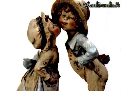 cartoline amore, ceramiche, porcellana, pupazzi, contadino, contadina, mondina, rustico, scultura, cappello di paglia