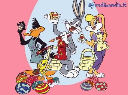 looney toons pasqua, auguri, cartoline bugs bunny, conigli, uova,cioccolata