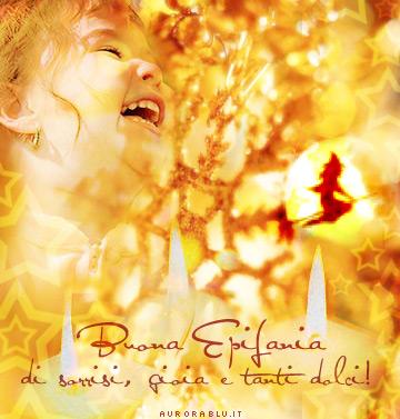 cartoline epifania, gioia, tanti dolci, auguri e baci, strega, befana, scopa, doni, carbone