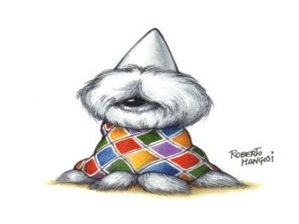 cartolina cane carnevale, arlecchino, costume, festa, carnevale, coriandoli, colori, allegria