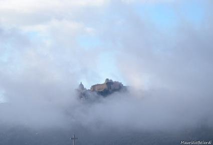 castello, palazzo, torri, nebbia, nuvole, osservatorio, castel gandolfo