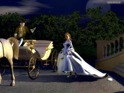 cartoline romantiche, favola innamorati, zucca, mezzanotte, scarpetta, matrigna, principe, carrozza, topolini, cavalli, principessa, vissero, felici,