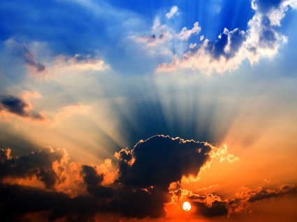 cielo, mare, nuvole, notte, sole, tramonto, raggi, calore