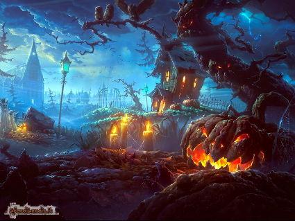 paura, halloween, ruderi, mostri, zucche
