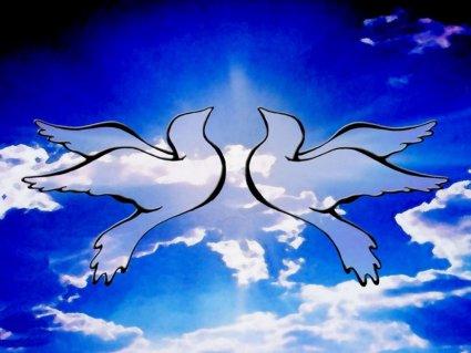 Pace, colombe, blu, due, bianche, nuvole, simbolo, storico, epico, narrato, ritorno, salvezza