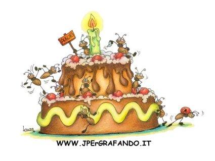 cartolina torta compleanno, auguri compleanno, formiche torta, panna e pan di spagna, anni, festa compleanno