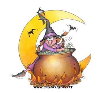 pozione, mezza, luna, pipistrelli, pentolone, cappello, punta, corvo, civetta, gufo