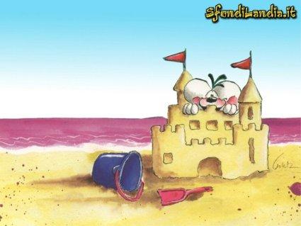 cartoline diddle, mare, vacanze, gita al mare, castello di sabbia, relax, bagno, caldo, paletta, secchiello