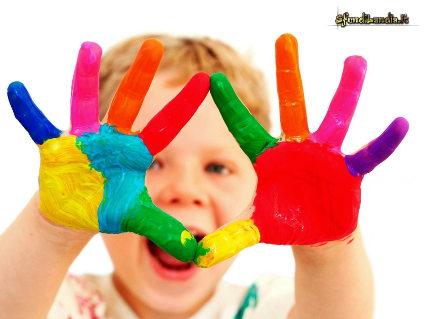 colori, sporcarsi, pasticcio, casotti, guai, mani sporche, liberi, dovertirsi