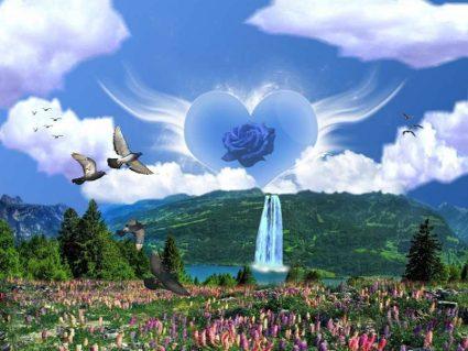 cascata, prati verdi, colombe, pace, amore, cuore, nuvole, pulito, sano