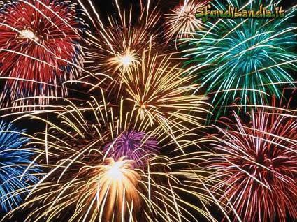 cartolina Fuochi di Artificio, anno nuovo, felice, cartoline capodanno, auguri, gioia, colori