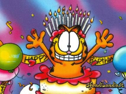 garfield, cartoline compleanno, sorpresa, candeline, auguri, festa, regali, amici