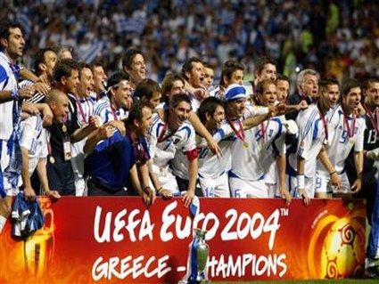 cartolina vittoria, grecia, euro 2004, campione europeo, atene, festa