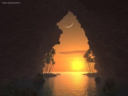 mare, grotte, insenature, tramonto, entrata, sera