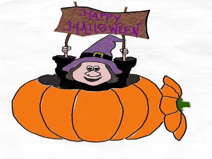 halloween, strega, zucca, auguri, happy, festa, maschera