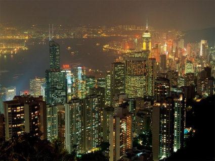 veduta, grattacieli, sera, notturna, luci, fiume, acqua, battelli, ex, colonia, inglese, cinese, cina, ora