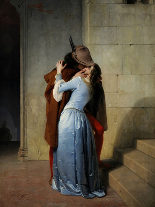 romanticismo, dipinto, spettatore, innamorati, partire, restare
