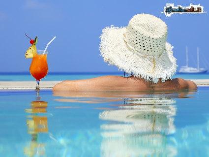 cocktail, bagno, vasca, fresco, benessere, pensieri, oasi, drink