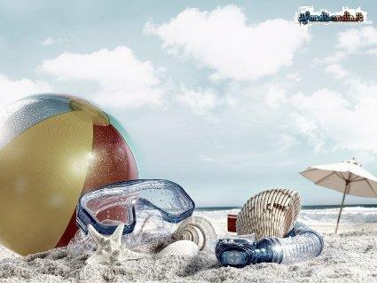vacanza, ombrelli, spiaggie, correre, giochi, rimorchio, movida, divertimento, acchiappo