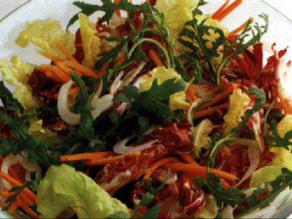 lattuga, radicchio, pomodoro, carote, cipolle, puntarelle