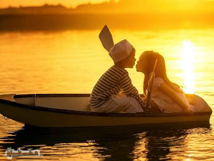 amore, sentimento, affetto, tramonto, barca, mix