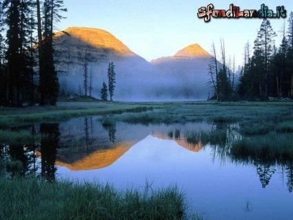 cartoline laghi, montagna, riflesso, nebbia, alba, tramonto, sole e monti