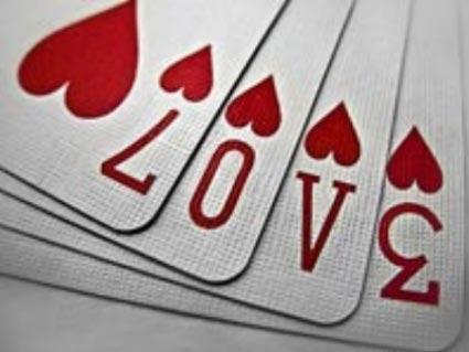 amore, sentimento, passione, carte, cuori, picche, asso, sette, zero, tre