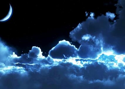 Luna, nuvole, sole, bagliori