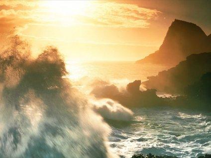 incontro, nuvole, acqua, salata, marina, marittima, stagliarsi, scorcio, scogli, promontori