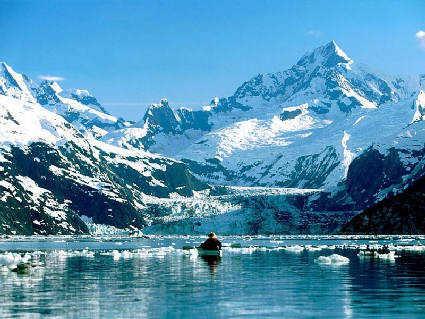 montagna, innevata, ghiacciaio, freddo, barca, remare, pescatore, visitatore