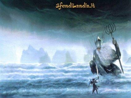 Dio del mare, lotta, guerriero, tridente, ira, rabbia, onde, gigante, scudo, spada