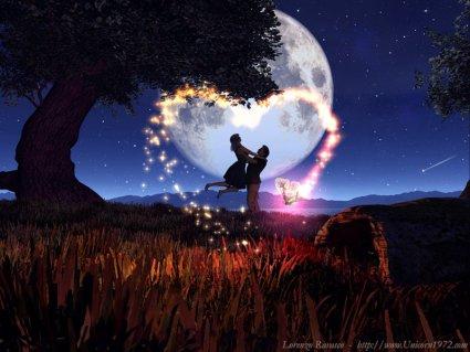 notturno, cartoline san valentino, festa, amarsi, amore, cuore, luminoso, stelline, polvere, luna, stella, cadente