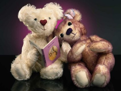 cartoline orsacchiotti, pelouche, libro, leggere, lei morbida, testa amò, spalla, segno d'amore