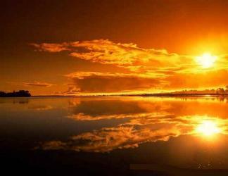 tramonti, rosso, sfumature, giallo, arancione, mare, specchio